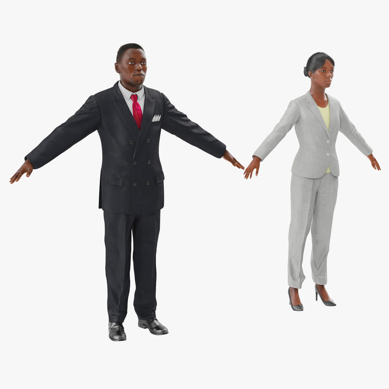 3d rigged african american business people model