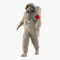 chinese astronaut wearing space suit 3d model