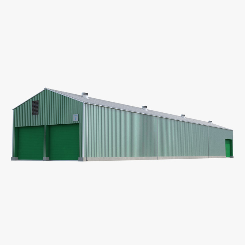 warehouse building 2 green 3d model