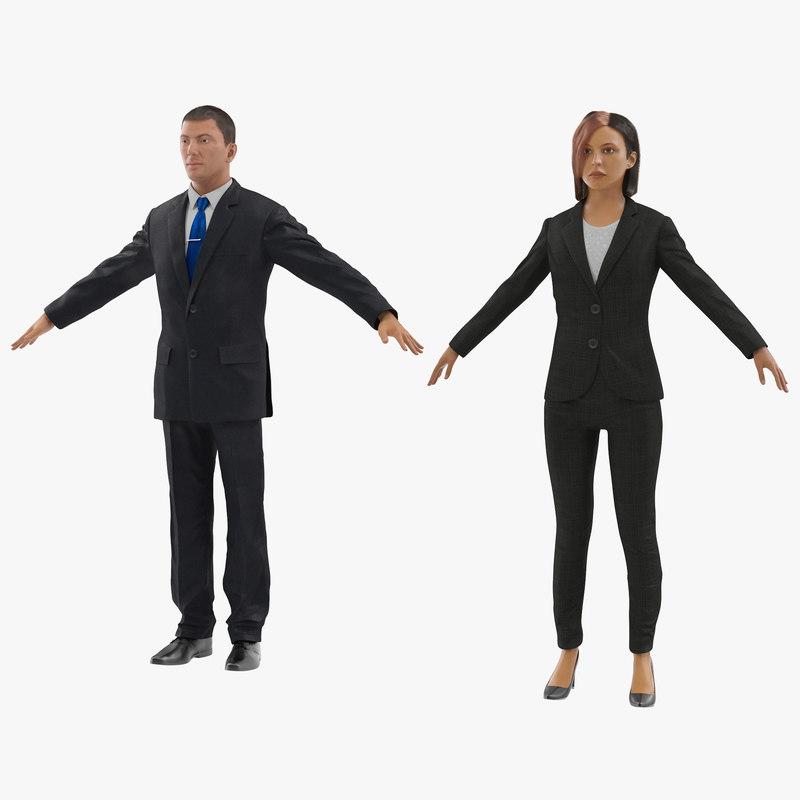 business people 3 businessman 3d model