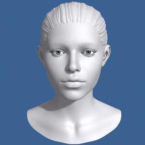 polygonal female head 3d c4d