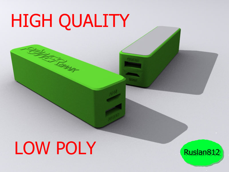3d model green power bank 2600