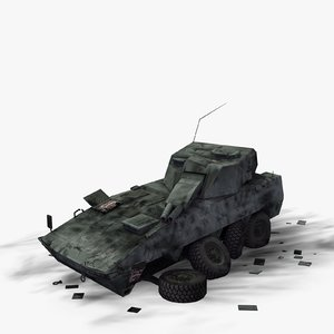 3d wrecked military vehicle amos