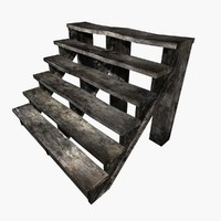 3d wood stairs old