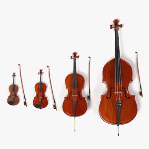 bowed strings 3d model