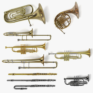 3d brass musical instruments