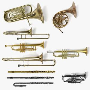 3d brass musical instruments