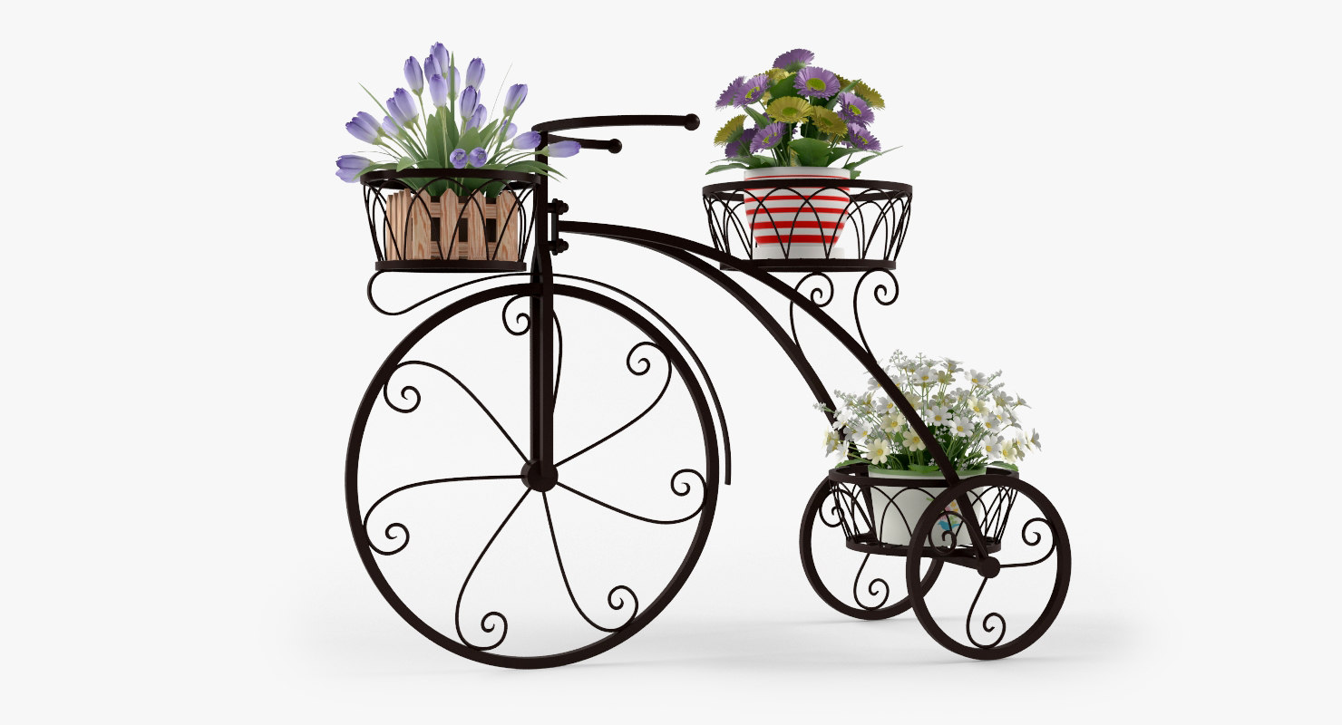 bicycle outdoor plant stand 3d model