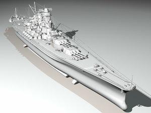 japanese battleship yamato navy ship 3d model