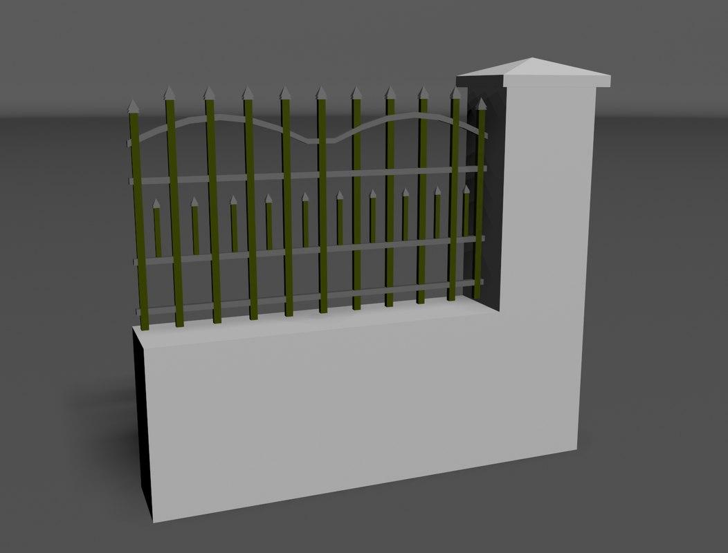 concrete fence metal 3d model