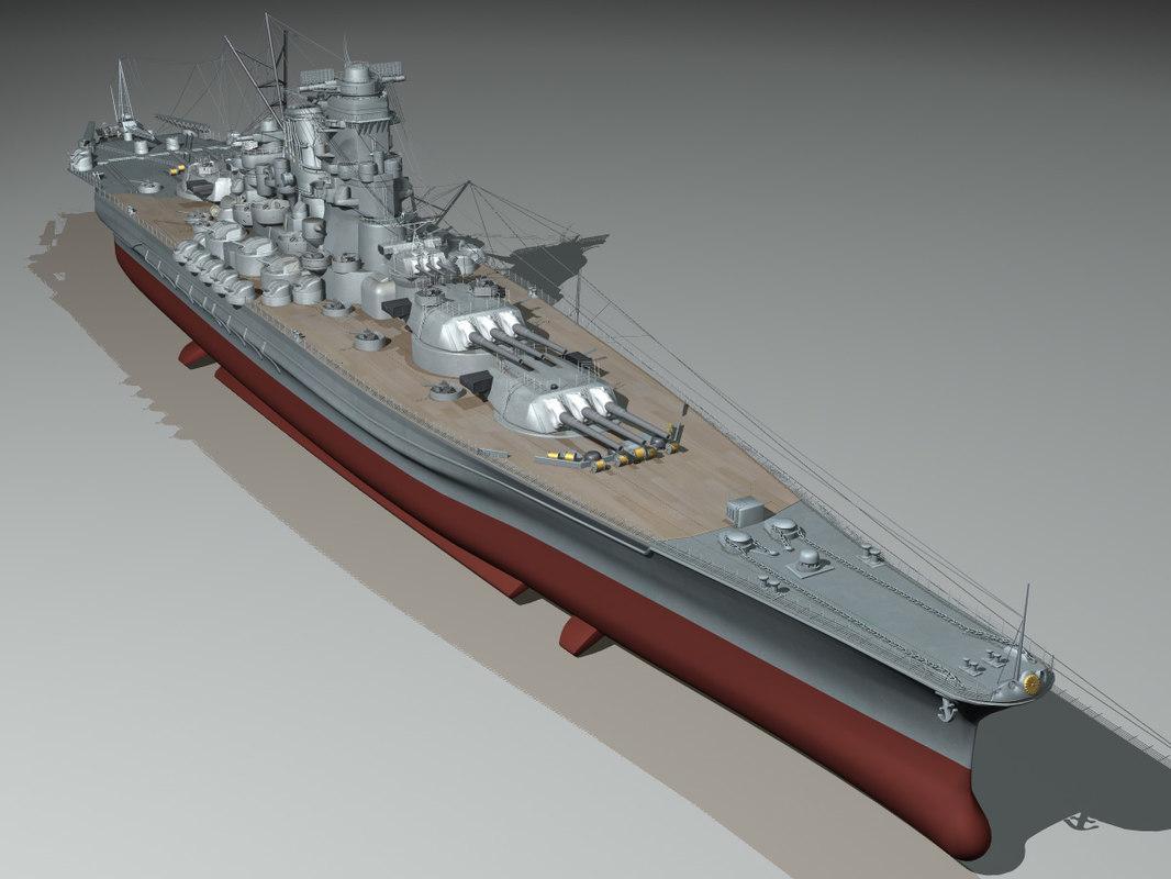 3d japanese battleship yamato navy ship
