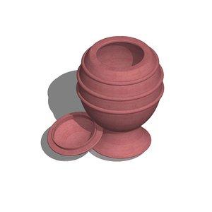 3d 3ds wooden jar sugar