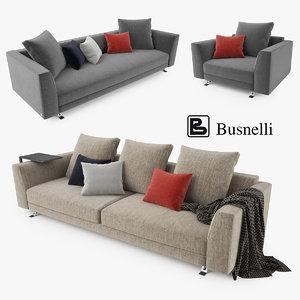 3d model busnelli burton sofa