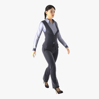 asian business woman rigged 3d max