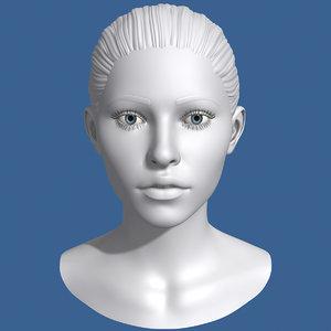 3d model polygonal female head