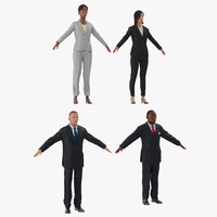 3d model rigged business people 2