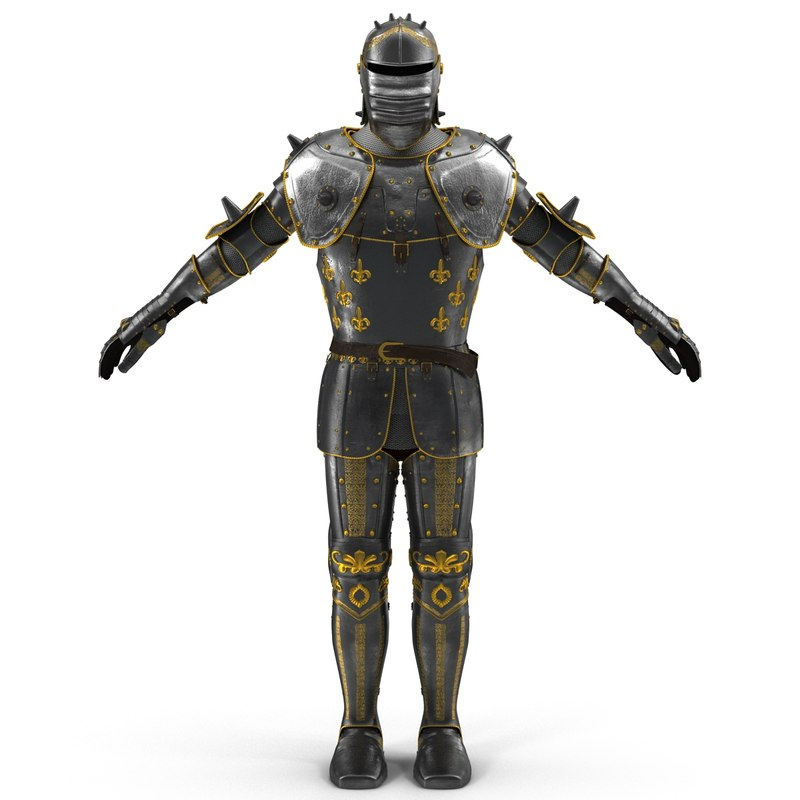 3d model medieval suit armor modeled
