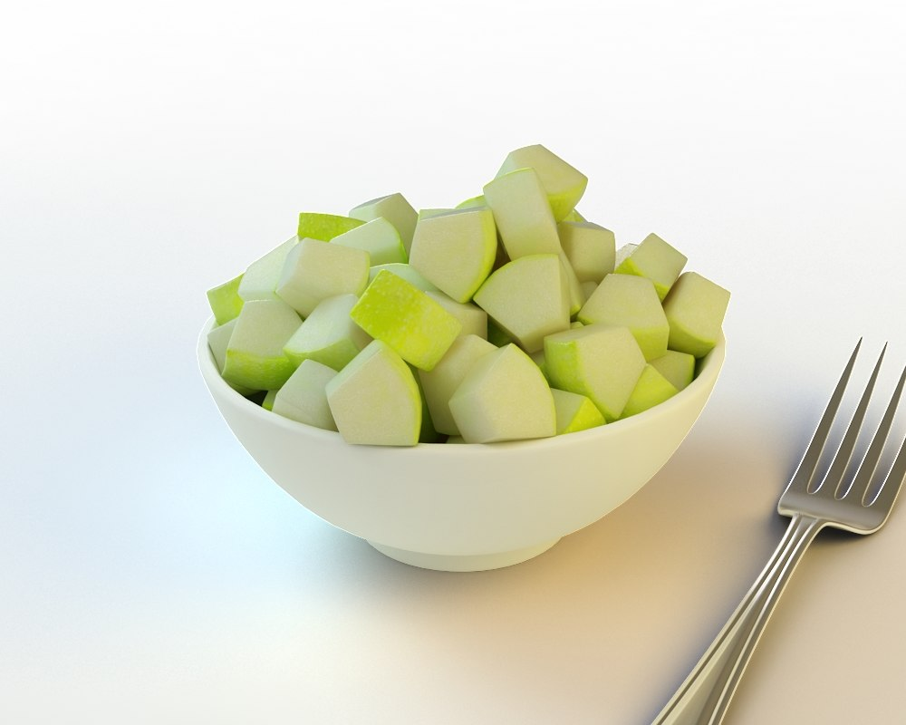 3d model 36 sliced green apple