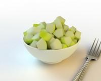 3d model 36 sliced green apple