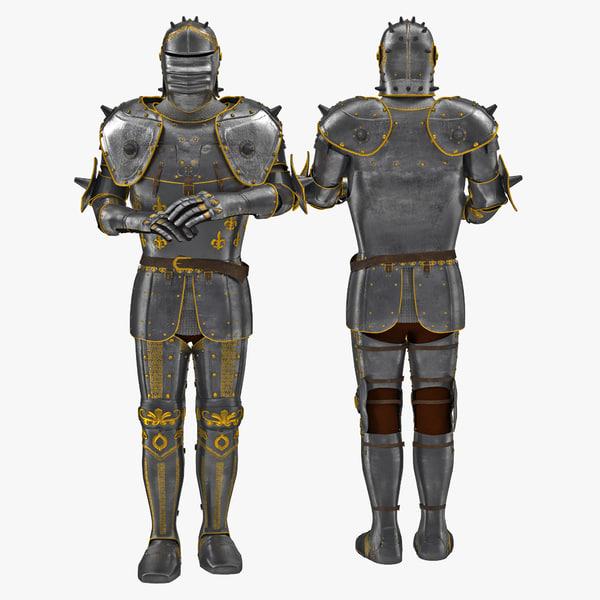 3d medieval suit armor 3