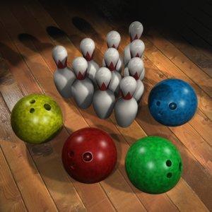 3d bowling balls pins model