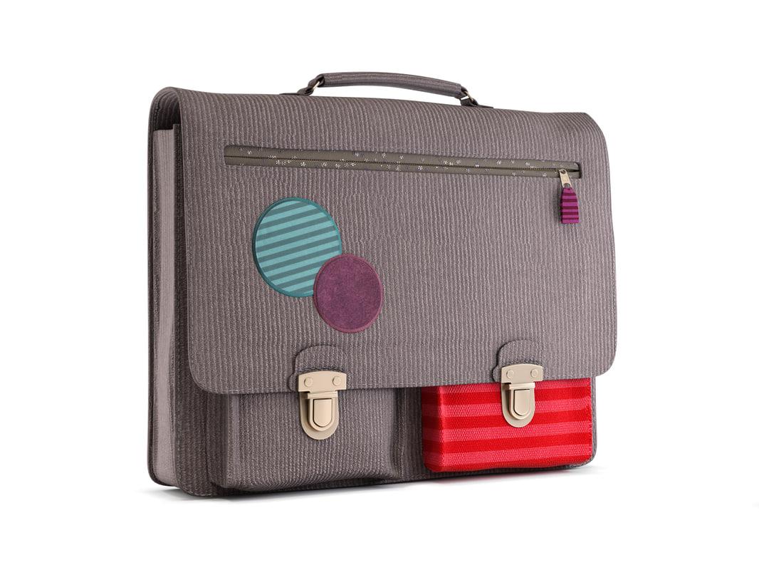school bag velvet 3d model