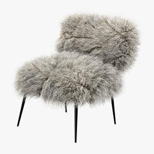baxter nepal chair hair fur 3d model