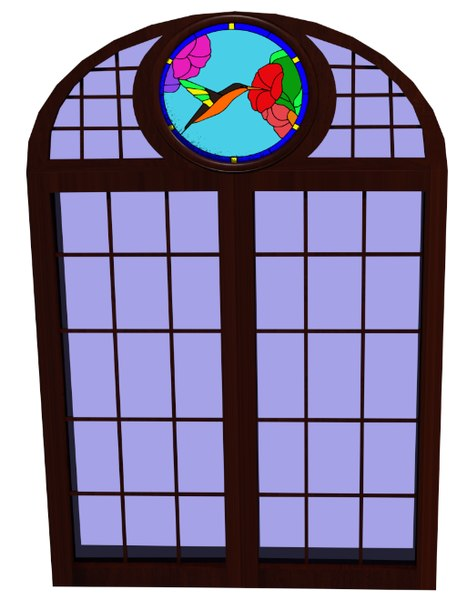 tudor stained glass window 3d model