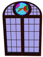 Stained glass round window tudor medieval