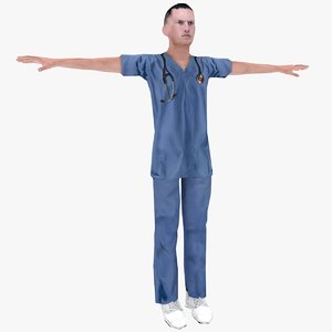 3d model male nurse -