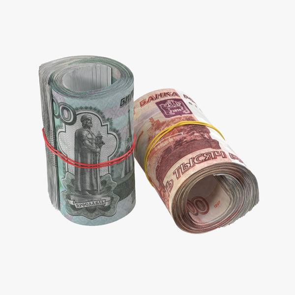 3d model rouble roll