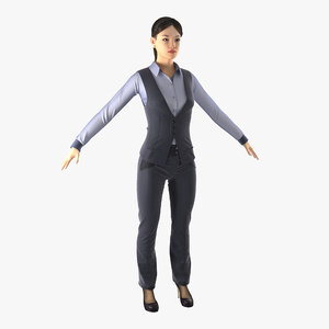 3d asian business woman modeled