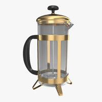 french press coffee pot 3d model