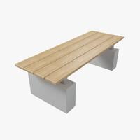 3d model outdoor bench
