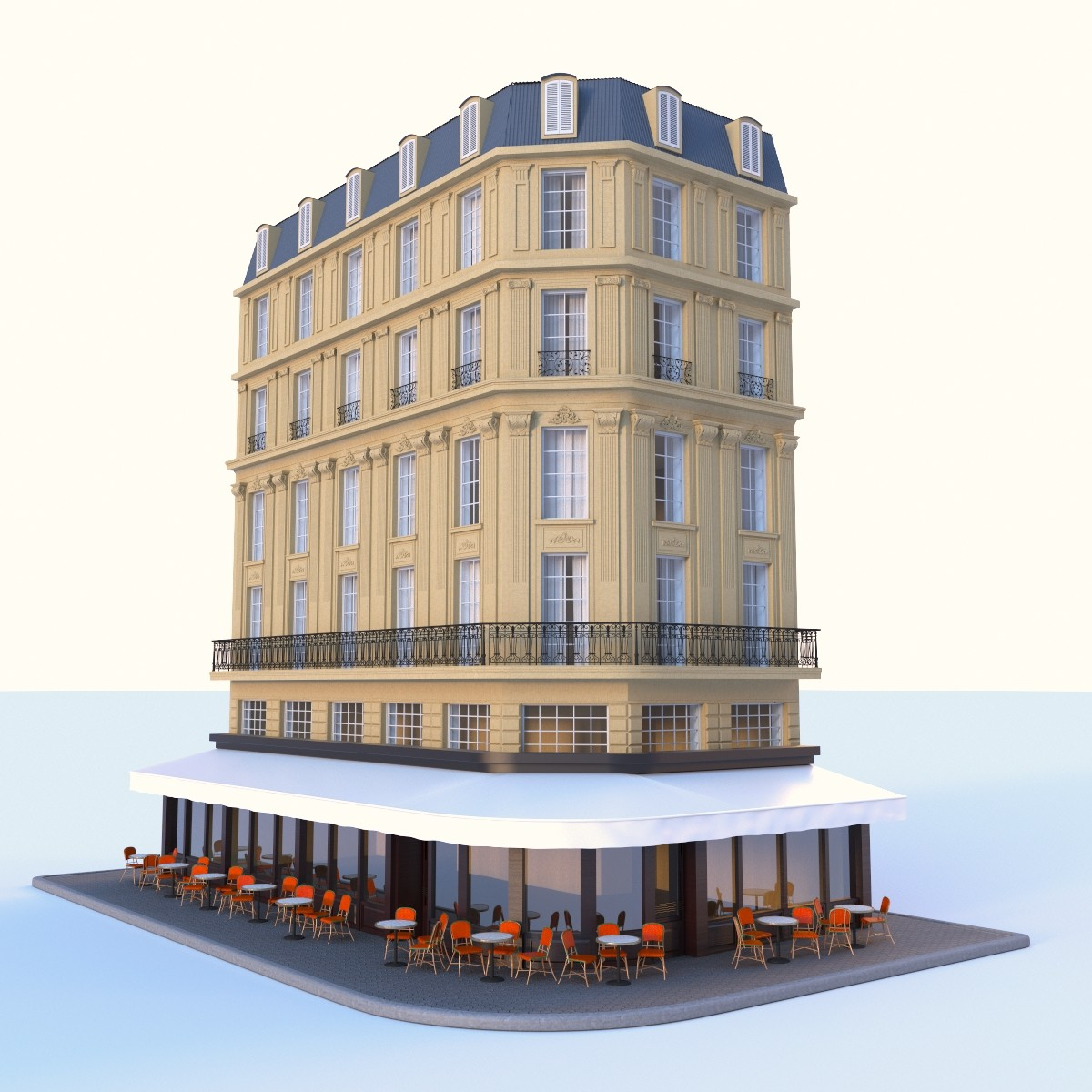 3d max building cafe