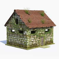hi-poly fantasy stone building 3d model