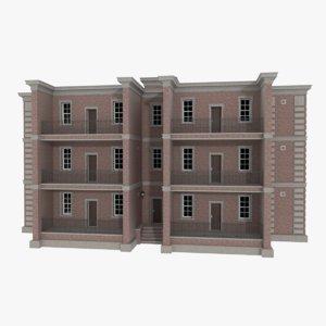 obj brick apartment building interior exterior