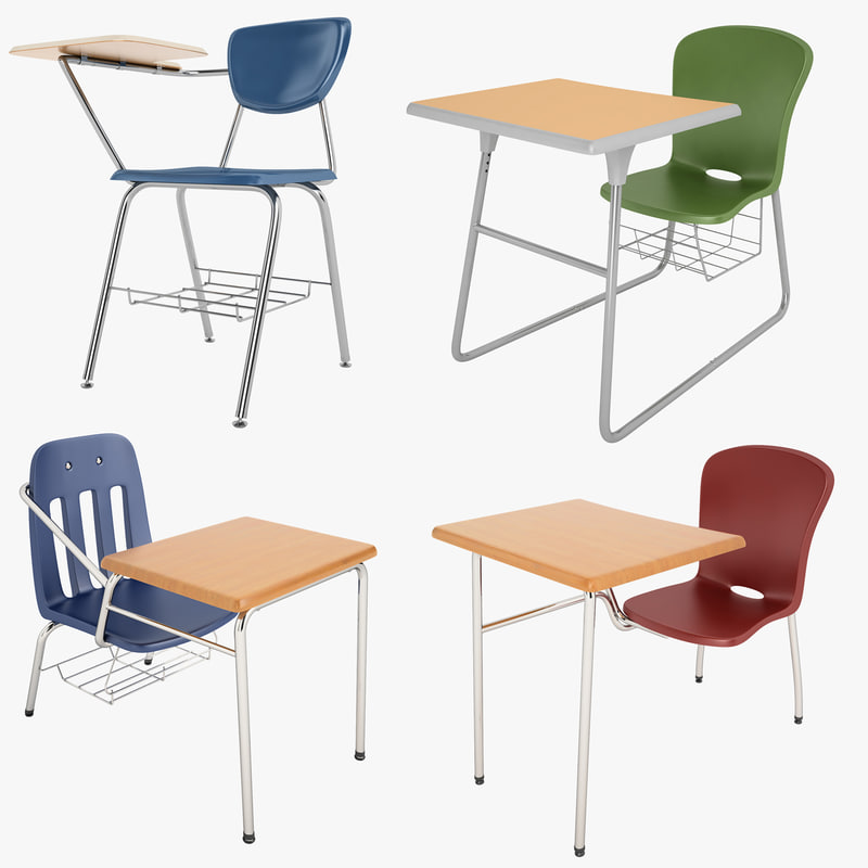 3d model student desk 01