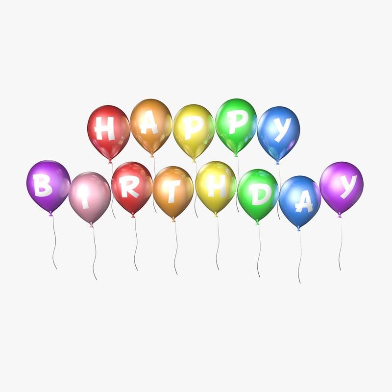 balloons happy birthday - 3d c4d
