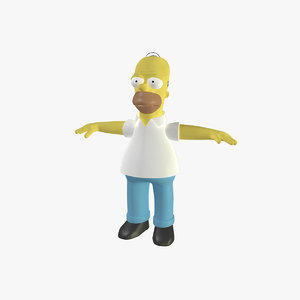 homer simpson rigged character 3d model