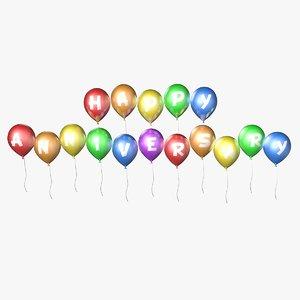 balloons happy anniversary - 3d model