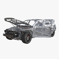 Car Frame with Chassis 3 Rigged 3D Model