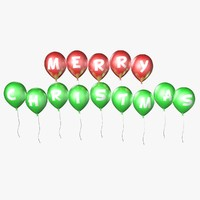 balloons merry christmas - 3d model