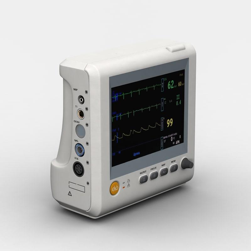 3d multi-parameter patient monitor model