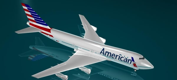 3d model 747 new logo american airlines