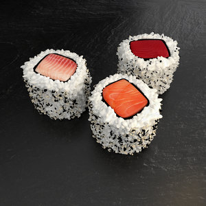 3 hosomaki sushi fish 3d max
