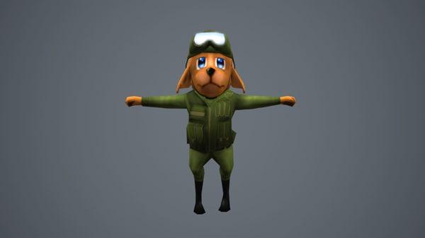 3d soldier dog