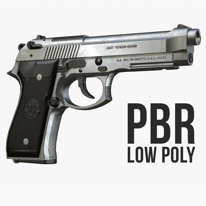 silver beretta m9 polys 3d model