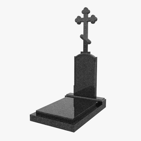 granite headstone 3d model