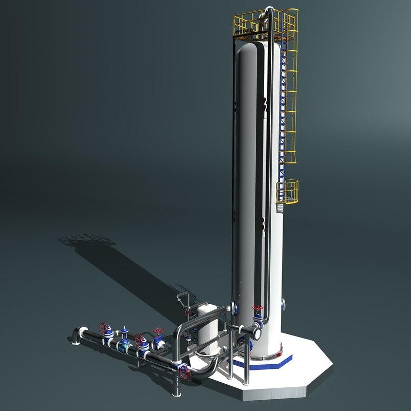 3d fractional distillation tower model